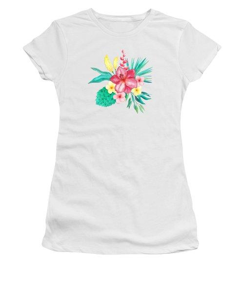 Tropical Watercolor Bouquet 9 Women's T-Shirt (Athletic Fit)