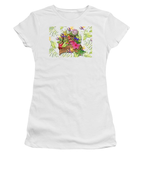Tropicals In A Basket Women's T-Shirt (Junior Cut) by Larry Bishop