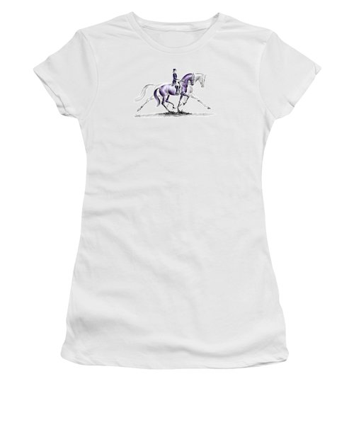 Trot On - Dressage Horse Print Color Tinted Women's T-Shirt (Junior Cut) by Kelli Swan