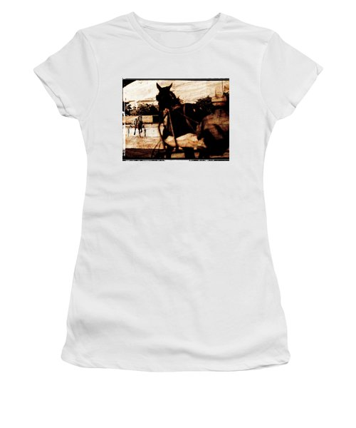 Women's T-Shirt (Junior Cut) featuring the photograph trotting 1 - Harness racing in a vintage post processing by Pedro Cardona