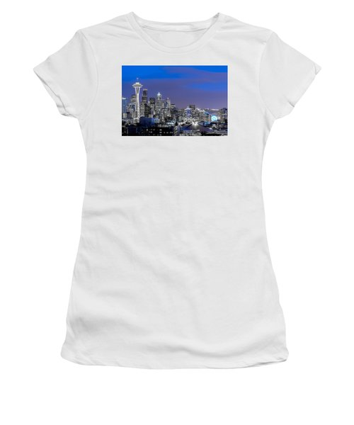 Women's T-Shirt (Junior Cut) featuring the photograph True To The Blue In Seattle by Ken Stanback