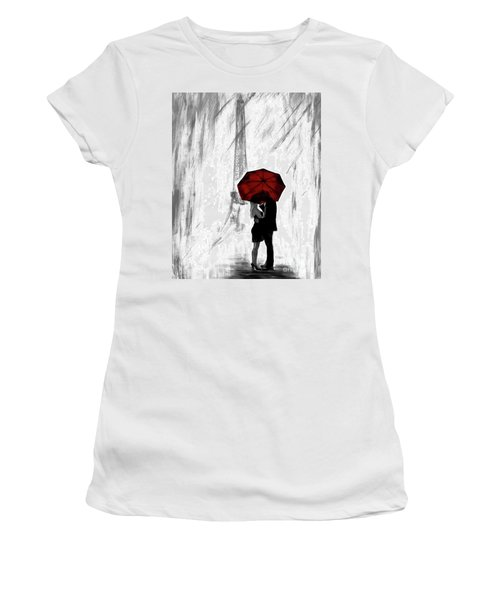 Women's T-Shirt (Athletic Fit) featuring the painting Truly All Yours by Leslie Allen