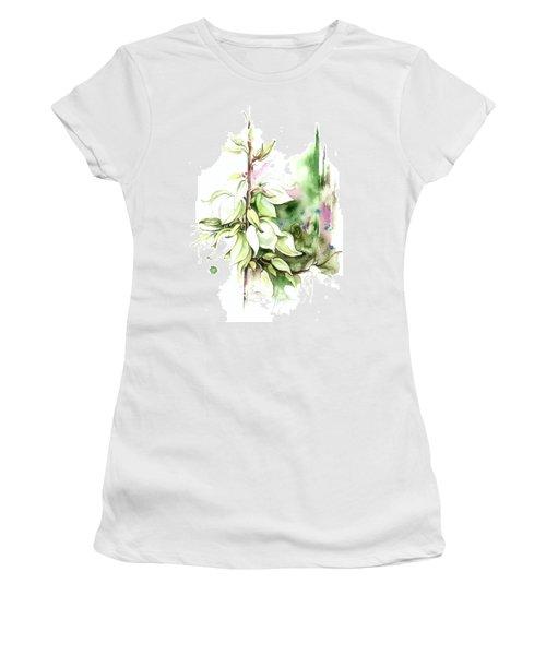 Women's T-Shirt (Junior Cut) featuring the painting Trying On Wedding Dress by Anna Ewa Miarczynska
