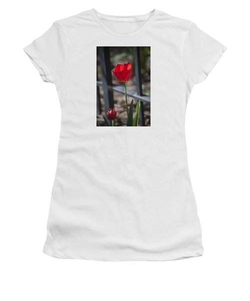 Tulip And Garden Fence Women's T-Shirt (Athletic Fit)