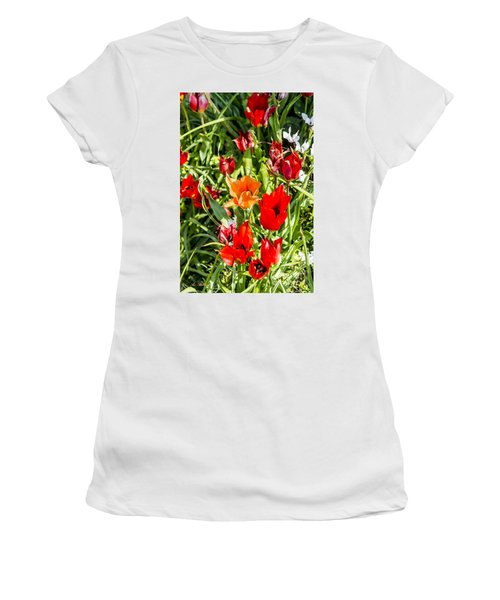 Women's T-Shirt (Junior Cut) featuring the photograph Tulip - The Orange One 03 by Arik Baltinester