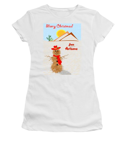 Tumbleweed Snowman Christmas Card Women's T-Shirt (Junior Cut) by Methune Hively