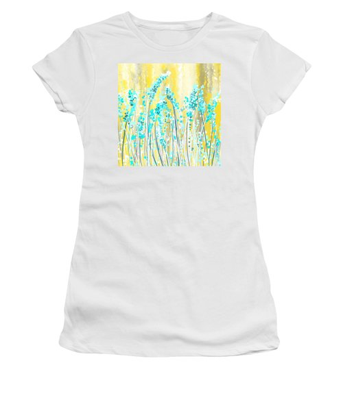 Turquoise And Yellow Women's T-Shirt (Athletic Fit)