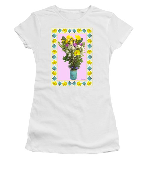 Turquoise Vase With Spring Bouquet Women's T-Shirt (Junior Cut) by Lise Winne