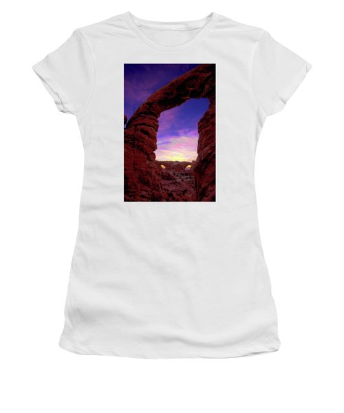 Women's T-Shirt (Athletic Fit) featuring the photograph Turret Arch To Windows by Norman Hall