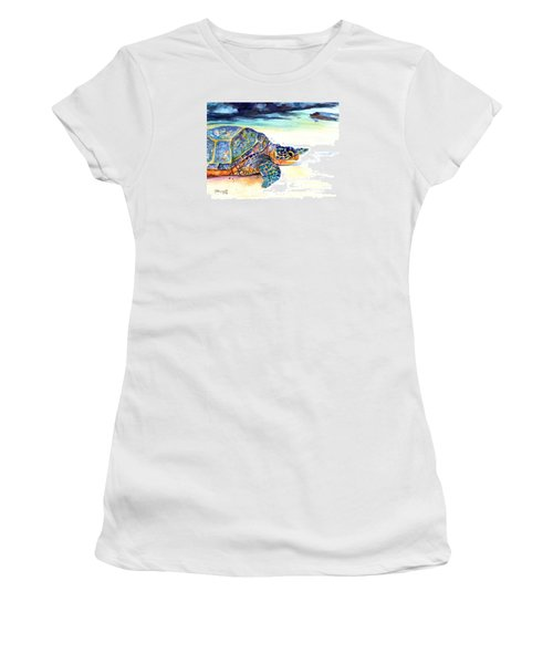 Turtle At Poipu Beach 2 Women's T-Shirt (Junior Cut) by Marionette Taboniar