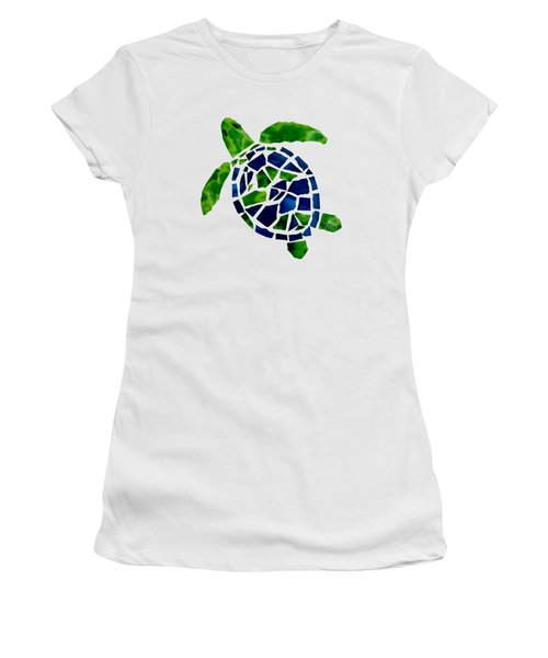 Turtle Mosaic Cut Out Women's T-Shirt (Athletic Fit)