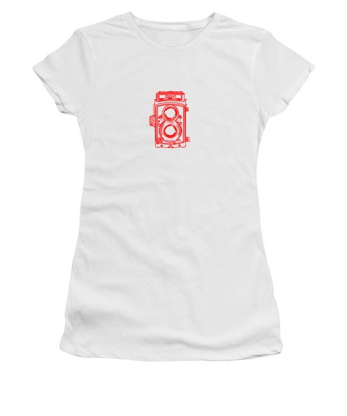 Women's T-Shirt (Junior Cut) featuring the drawing Twin Lens Camera by Setsiri Silapasuwanchai