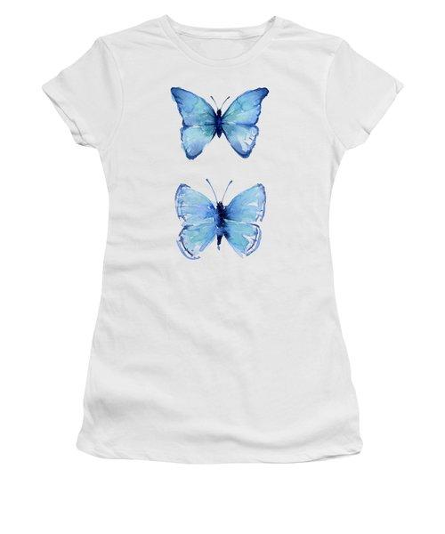 Two Blue Butterflies Watercolor Women's T-Shirt