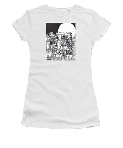 Women's T-Shirt (Junior Cut) featuring the drawing Two Dozen And One Cats by Seth Weaver