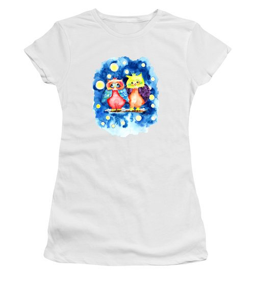 Two Owls And A Starry Night Women's T-Shirt