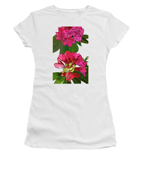 Two Rhododendrons Women's T-Shirt (Junior Cut) by Jamie Downs