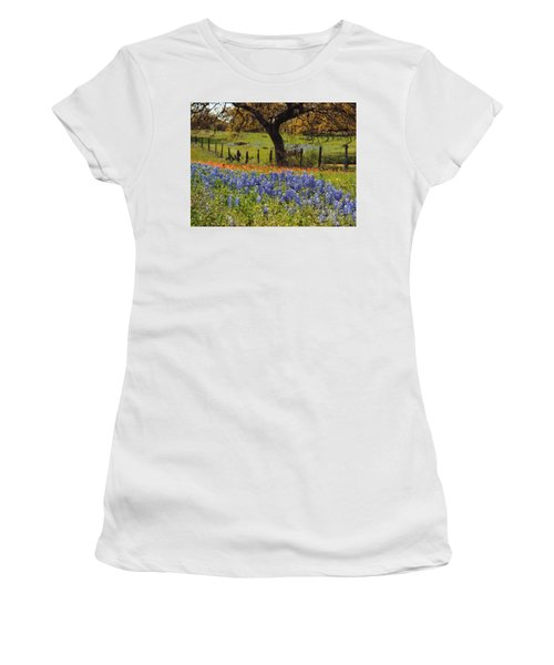 Tx Tradition, Bluebonnets Women's T-Shirt (Junior Cut)