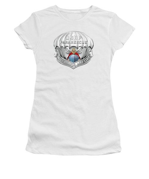 U. S.  Air Force Pararescuemen - P J Badge Over Blue Velvet Women's T-Shirt (Junior Cut) by Serge Averbukh
