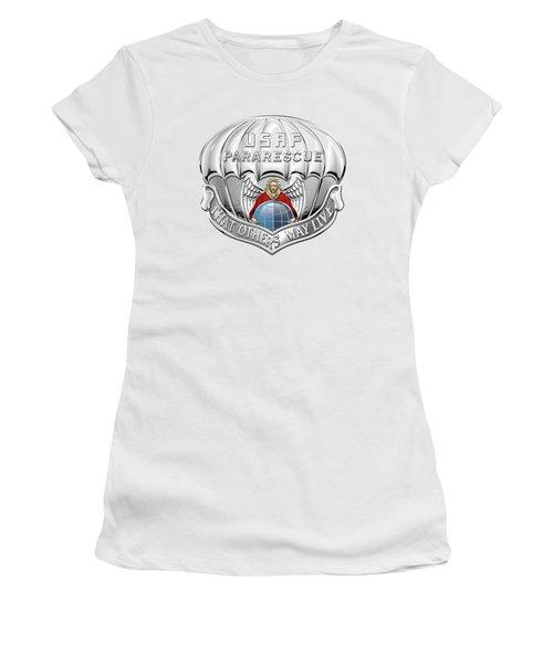 U. S.  Air Force Pararescuemen - P J Badge Over White Leather Women's T-Shirt (Junior Cut) by Serge Averbukh