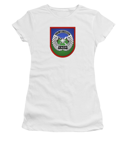Women's T-Shirt (Junior Cut) featuring the digital art U. S.  Air Force Tactical Air Control Party -  T A C P  Beret Flash With Crest Over White Leather by Serge Averbukh