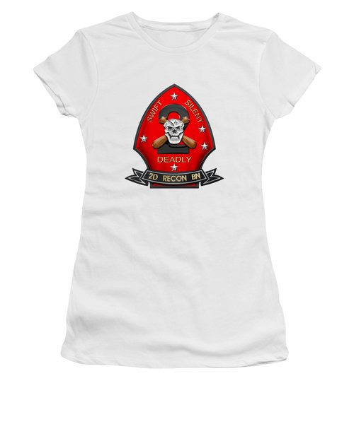U S M C  2nd Reconnaissance Battalion -  2nd Recon Bn Insignia Over White Leather Women's T-Shirt