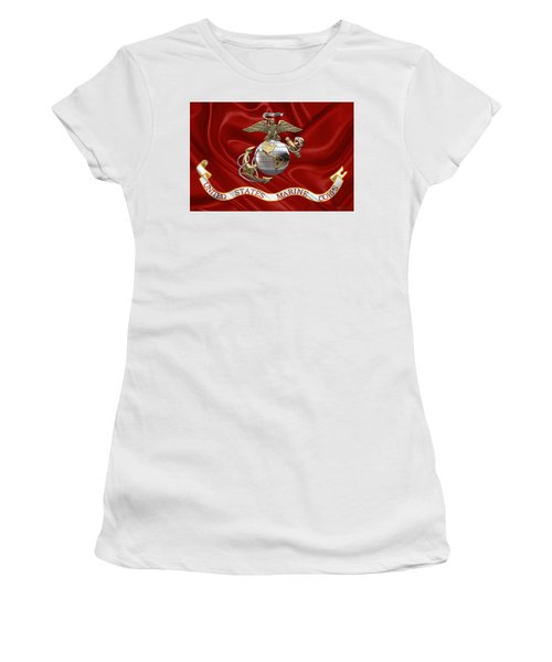 U. S.  Marine Corps - U S M C Eagle Globe And Anchor Over Corps Flag Women's T-Shirt (Athletic Fit)