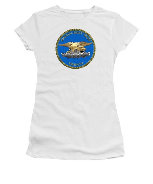 U. S. Navy S W C C - Special Boat Team 20   -  S B T 20   Patch Over White Leather Women's T-Shirt