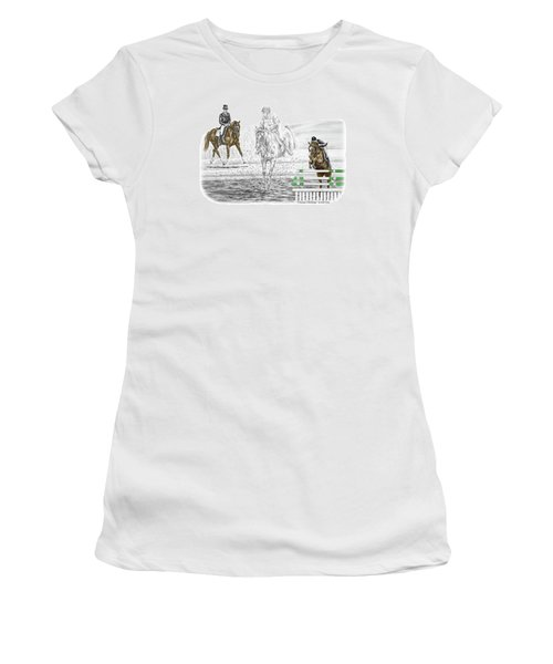 Ultimate Challenge - Horse Eventing Print Color Tinted Women's T-Shirt (Athletic Fit)