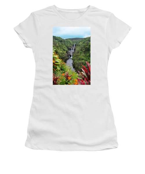 Women's T-Shirt (Athletic Fit) featuring the photograph Umauma Falls Hawaii by Denise Bird