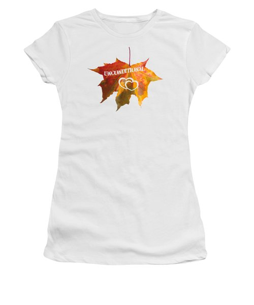 Unconditional Love Typography Carved On A Fall Leaf Women's T-Shirt