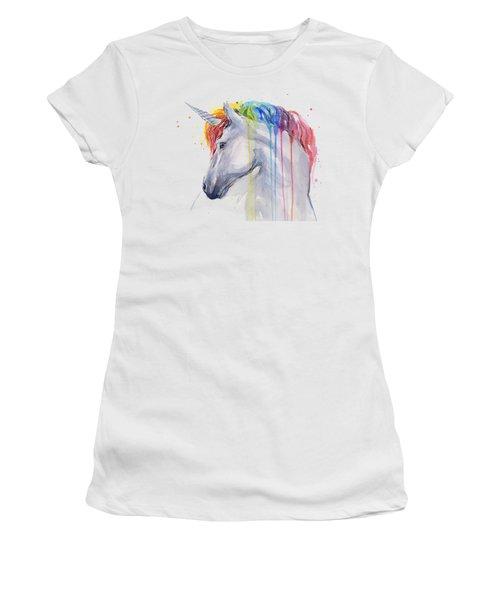 Unicorn Rainbow Watercolor Women's T-Shirt