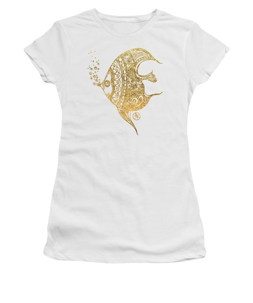 Unique Golden Tropical Fish Art Drawing By Megan Duncanson Women's T-Shirt (Athletic Fit)