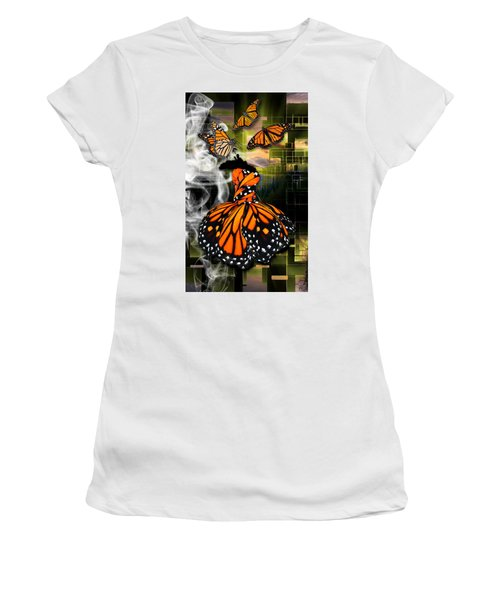 Women's T-Shirt (Athletic Fit) featuring the mixed media Unrestricted by Marvin Blaine