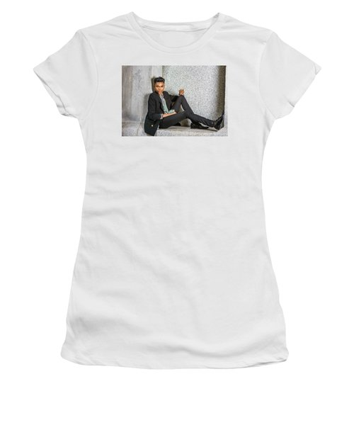 Women's T-Shirt (Athletic Fit) featuring the photograph Urban Teenage Boy Fashion 15042648 by Alexander Image