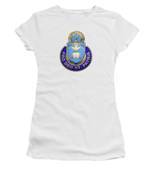 Women's T-Shirt (Junior Cut) featuring the digital art U.s. Army Chaplain Corps - Regimental Insignia Over White Leather by Serge Averbukh