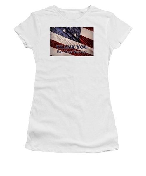 Usa Military Veterans Patriotic Flag Thank You Women's T-Shirt