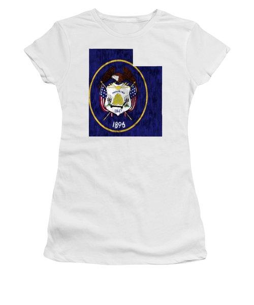 Utah Map Art With Flag Design Women's T-Shirt