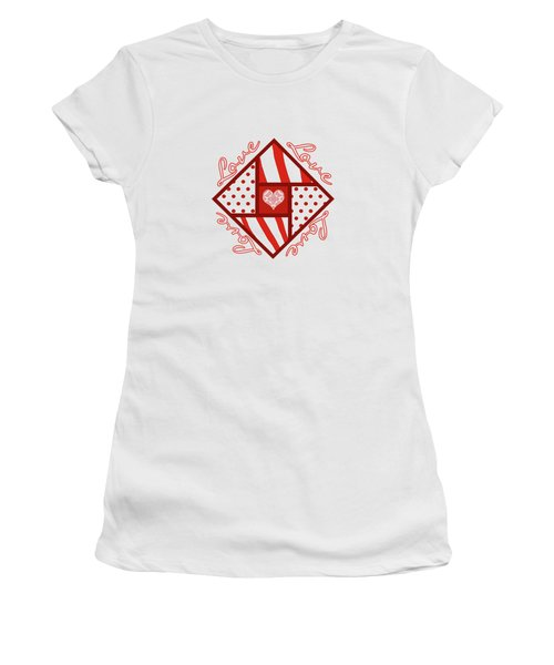 Valentine 4 Square Quilt Block Women's T-Shirt (Junior Cut) by Methune Hively