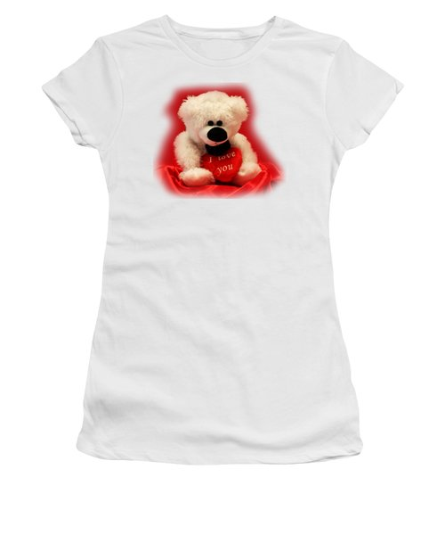 Women's T-Shirt (Junior Cut) featuring the photograph Valentine Bear by Linda Phelps