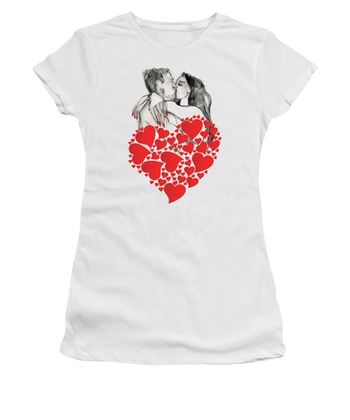 Valentine's Kiss - Valentine's Day Women's T-Shirt (Junior Cut) by Carolyn Weltman