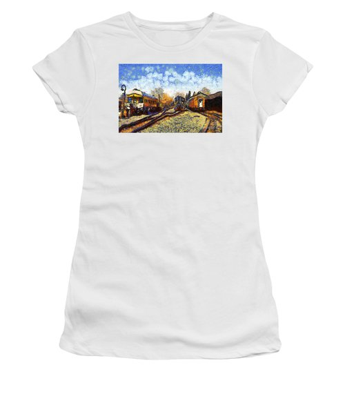 Van Gogh.s Train Station 7d11513 Women's T-Shirt