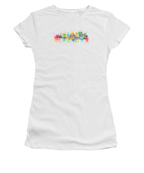 Vancouver Bc Skyline Paint Splatter Illustration Women's T-Shirt (Junior Cut) by Jit Lim