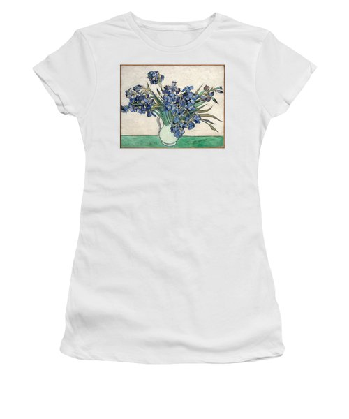 Women's T-Shirt featuring the painting Vase With Irises by Van Gogh