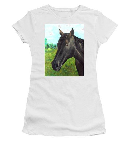 Women's T-Shirt (Junior Cut) featuring the painting Velvet by Elizabeth Lock