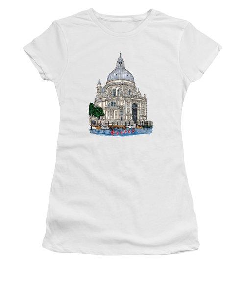 Women's T-Shirt (Junior Cut) featuring the drawing Venice  by Andrzej Szczerski