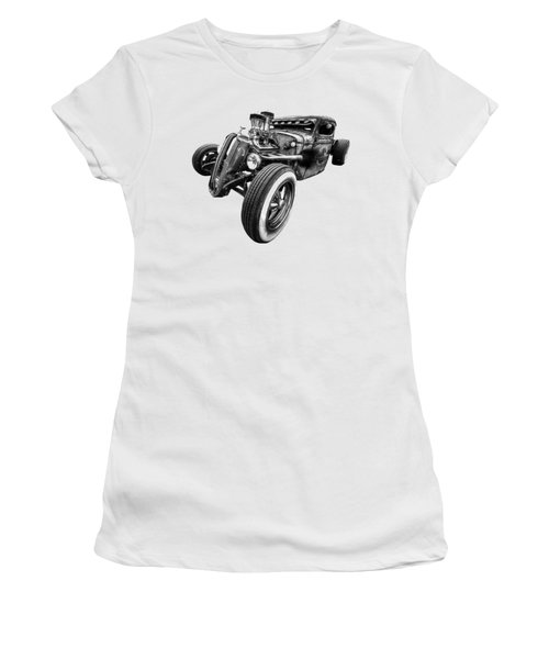 Vermin's Diner Rat Rod Front In Black And White Women's T-Shirt