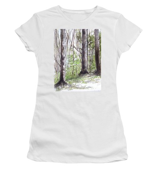 Vermont Woods Women's T-Shirt (Junior Cut) by Laurie Rohner