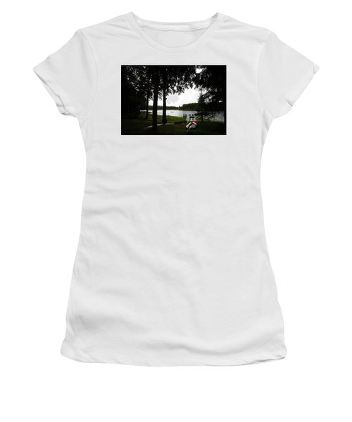 Women's T-Shirt (Athletic Fit) featuring the photograph View Of The Pond by David Patterson