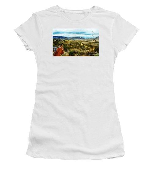 View Of Vail Lake On Horseback Women's T-Shirt