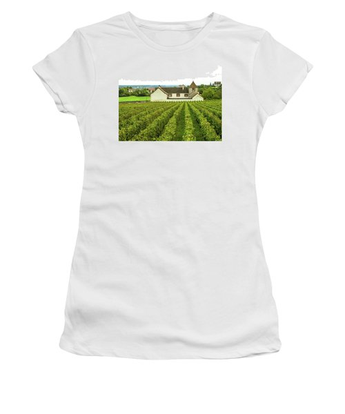 Women's T-Shirt featuring the photograph Vineyard In France by Jim Mathis
